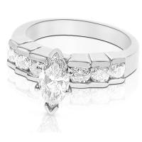 1.35CT Marquise and Round Cut Diamonds Engagement Ring