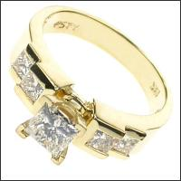 1.15CT Princess Cut Diamonds Engagement Ring