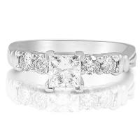0.90CT Princess and Round Cut Diamonds Engagement Ring