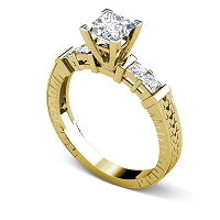 0.95CT Princess Cut Diamonds Engagement Ring