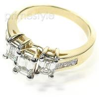 1.55CT Emerald and Princess Cut Diamonds Engagement Ring