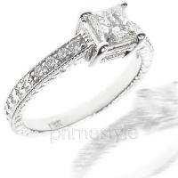0.65CT Princess and Round Cut Diamonds Engagement Ring