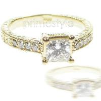 0.30CT Princess and Round Cut Diamonds Engagement Ring