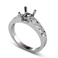 0.80CT Princess and Round Cut Diamonds Engagement Ring