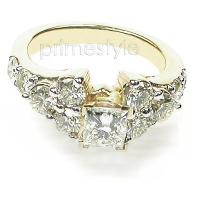 1.75CT Princess and Round Cut Diamonds Engagement Ring