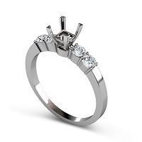 0.60CT Princess and Round Cut Diamonds Engagement Ring