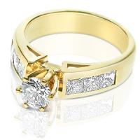1.40CT Round and Princess Cut Diamonds Engagement Ring