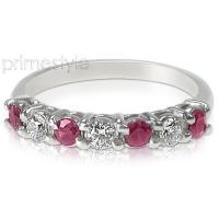 1.40CT Round Cut Diamonds and Rubies Wedding Band