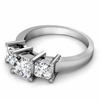 0.30CT Princess Cut Diamonds Three Stone Ring