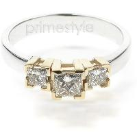 0.80CT Princess Cut Diamonds Three Stone Ring