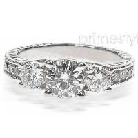 1.25CT Round Cut Diamonds Three Stone Ring
