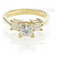 0.90CT Princess Cut Diamonds Three Stone Ring