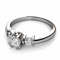 0.80CT Round Cut Diamonds Three Stone Ring