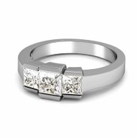 1.15CT Princess Cut Diamonds Three Stone Ring