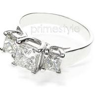 1.92CT Princess Cut Diamonds Three Stone Ring