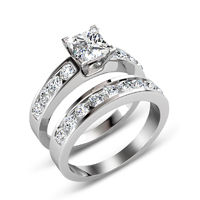 1.95CT Bridal Set with Princess and Round Cut Diamonds