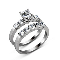 Princess and Round Cut  Diamond Bridal Set � 1.40CT