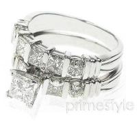 1.55CT Princess and Round Cut Diamond Bridal Set