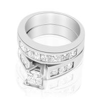 Engagement Ring and Wedding Band Bridal Set � 2.25CT Princess Cut Diamonds