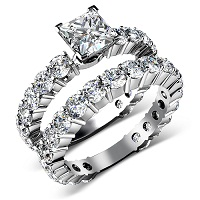 5.30CT princess and round Cut Diamonds Bridal Set