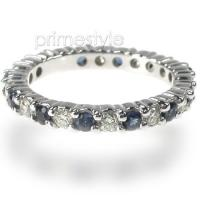 1.50CT Round Cut Diamonds and Sapphires Eternity Band
