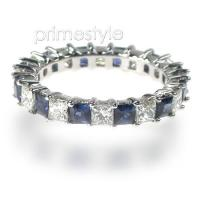 3.40CT Princess Cut Diamonds and Sapphires Eternity Band