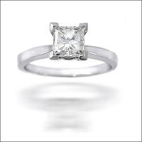 14KT White Gold Princess Cut Solitaire Ring