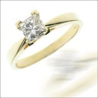 0.25CT Princess Cut Diamond Solitaire Ring