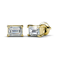 Emerald Cut Stud Earrings 0.25CT Total Weight with 14KT Yellow Gold Setting