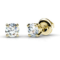 Diamond Stud Earrings with 0.25CT Total Weight and 14KT Yellow Gold Setting