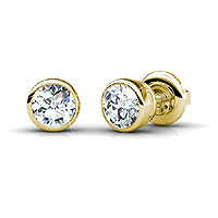 14KT Yellow Gold Diamond Stud Earrings with 0.25CT Total Weight