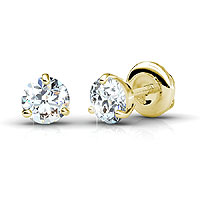Diamond Stud Earrings with 0.25CT Total Weight In 14KT Yellow Gold Setting