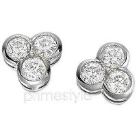 Three Stone Diamond Earrings In 14KT White Gold Setting with 0.90CT Round Cut Diamonds