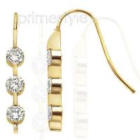 0.90CT Three Stone Diamond Earrings In 14KT Yellow Gold Setting