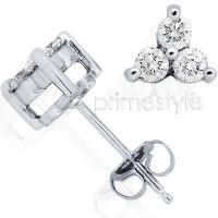 0.60CT Three Stone Round Cut Diamond Earrings with 14KT White Gold Setting