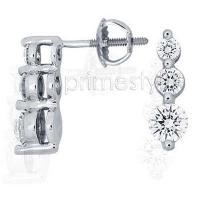 1.20CT Round Cut Diamonds Three Stone Earrings