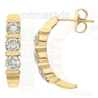 0.60CT Round Cut Diamonds Three Stone Earrings