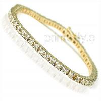 14KT Yellow Gold 1.00CT Round Cut Diamonds Tennis Bracelet