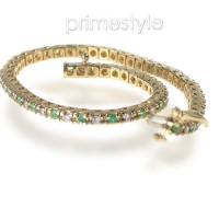 1.00CT Round Cut H/SI1-SI2 Diamonds and Emeralds Bracelet