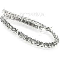 2.00CT Round Cut 14KT White Gold Diamonds Tennis Bracelet