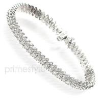 14KT White Gold 1.00CT Round Cut Diamonds Tennis Bracelet