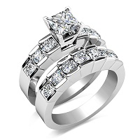 1.85CT Bridal Set with Princess & Round Cut Diamonds