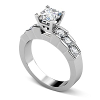 1.20CT Princess and Round Cut Diamonds Engagement Ring