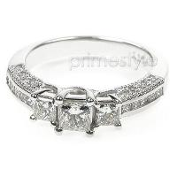 1.50CT Princess and Round Cut Diamonds Three Stone Ring