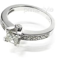 1.80CT Princess and Round Cut Diamond Engagement Ring