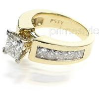 3.40CT Princess Cut Diamonds Engagement Ring