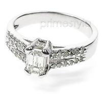 1.35CT Emerald and Round Cut Diamonds Engagement Ring