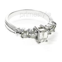 0.95CT Emerald  and Round Cut Diamonds Engagement Ring