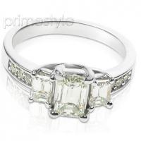 1.70CT Emerald and Round Cut Diamonds Three Stone Ring