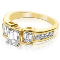 1.65CT Emerald and Princess Cut Diamonds Engagement Ring